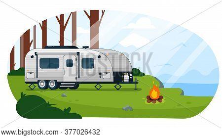 Camper Trailer. Caravan Camper Trailer And Campfire On Empty Campground Landscape Vector Illustratio