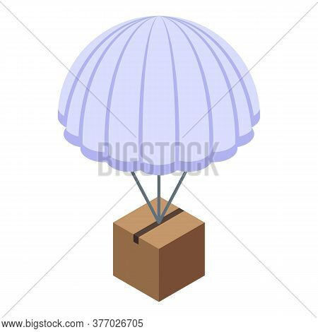 Parcel Parachute Delivery Icon. Isometric Of Parcel Parachute Delivery Vector Icon For Web Design Is