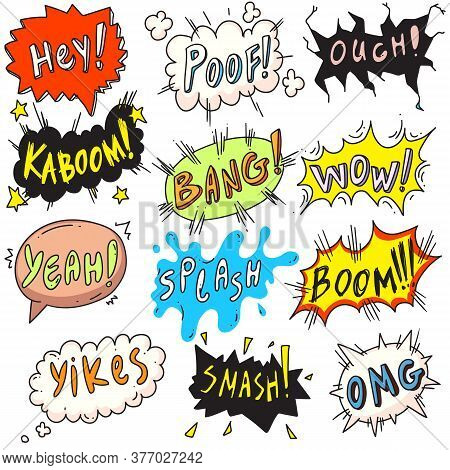 Popart Comic Bubble. Comic Funny Popart Comic Speech Bubble Set Isolated On White Background. Vector