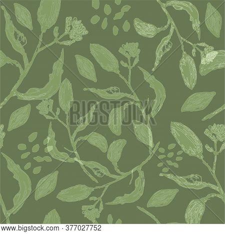 Greenery Background With Almonds Twigs. Greenery Seamless Vector Pattern. Beautiful Botanical Design