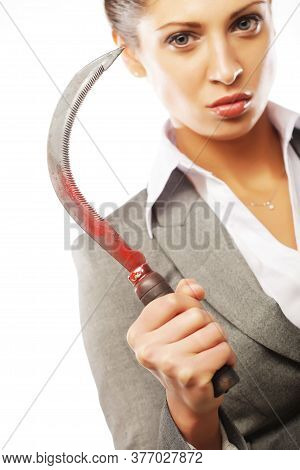 Business Woman With Sickle Over White Background