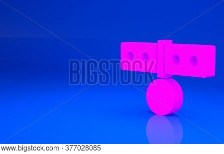 Pink Collar With Name Tag Icon Isolated On Blue Background. Simple Supplies For Domestic Animal. Cat