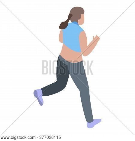 Girl Running Icon. Isometric Of Girl Running Vector Icon For Web Design Isolated On White Background