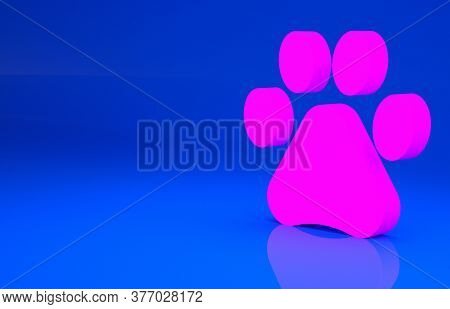 Pink Paw Print Icon Isolated On Blue Background. Dog Or Cat Paw Print. Animal Track. Minimalism Conc