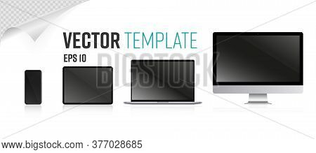 Device Screen Set. Isolated Realistic Blank Laptop, Mobile Tablet, All-in-one Pc Computer Monitors,