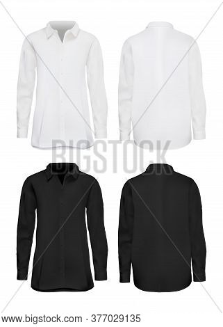 White And Black Shirt Mockup Set. Isolated Blank Male Cotton Long Sleeve Shirt Template Set. Front A