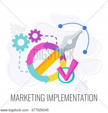 Marketing Implementation Icon. Cogwheels, Feather And Check Mark. Strategy And Management. Segmentat
