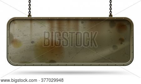 Long solid iron dirty and rusty signboard with a riveted frame hanging on chains isolated on white. Empty grunge framed techno banner. 3D illustration