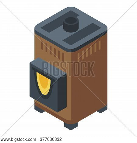 Sauna Stove Icon. Isometric Of Sauna Stove Vector Icon For Web Design Isolated On White Background