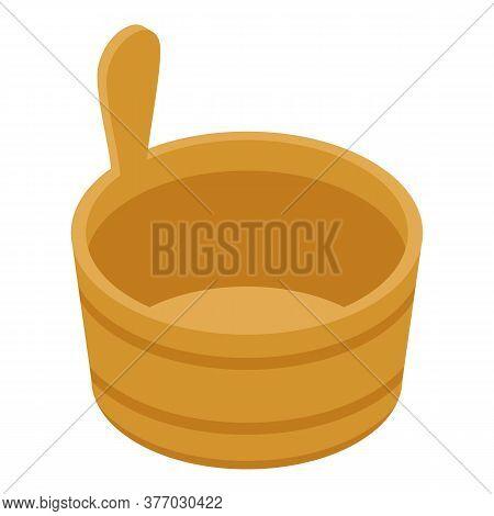 Sauna Wood Bucket Icon. Isometric Of Sauna Wood Bucket Vector Icon For Web Design Isolated On White