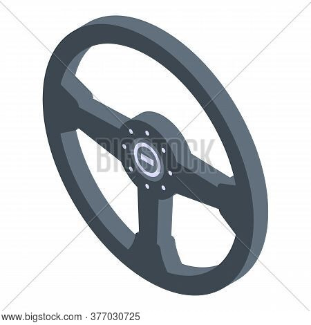 Racing Steering Wheel Icon. Isometric Of Racing Steering Wheel Vector Icon For Web Design Isolated O