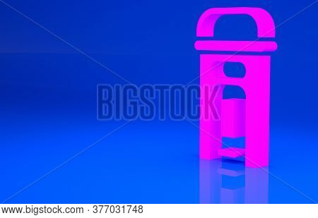 Pink London Phone Booth Icon Isolated On Blue Background. Classic English Booth Phone In London. Eng