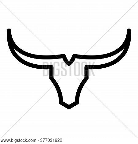 Horns Wildebeest Icon. Outline Horns Wildebeest Vector Icon For Web Design Isolated On White Backgro