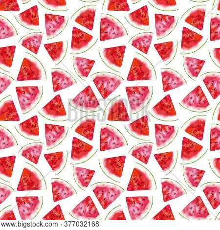 Watercolor Fruit Pattern. Seamless Watercolour Illustration. Bright Colourful Wallpaper, Fabric, Wra