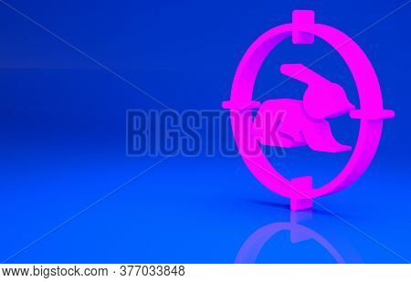 Pink Hunt On Rabbit With Crosshairs Icon Isolated On Blue Background. Hunting Club Logo With Rabbit