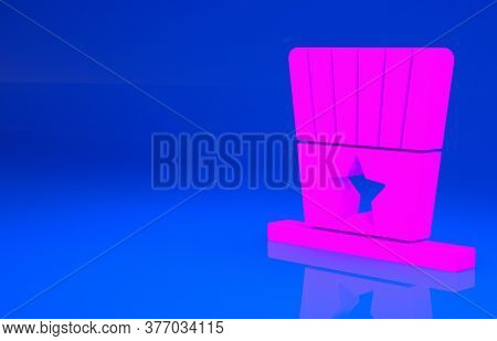 Pink Patriotic American Top Hat Icon Isolated On Blue Background. Uncle Sam Hat. American Hat Indepe