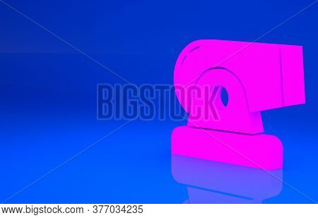 Pink Cannon Icon Isolated On Blue Background. Minimalism Concept. 3d Illustration. 3d Render