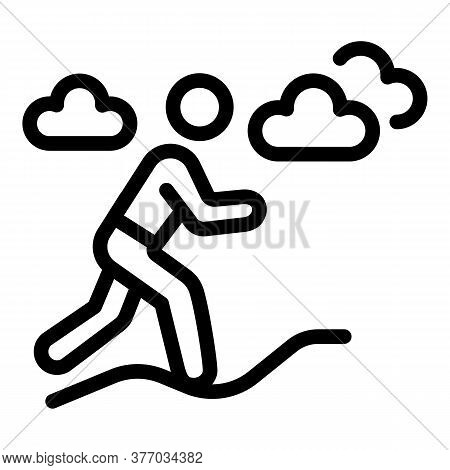 Outdoor Running Icon. Outline Outdoor Running Vector Icon For Web Design Isolated On White Backgroun