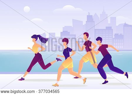 Cartoon Color Characters People And City Marathon Concept Flat Design Style. Vector Illustration Of