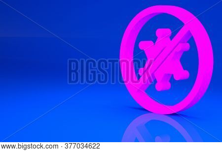 Pink Protest Icon Isolated On Blue Background. Meeting, Protester, Picket, Speech, Banner, Protest P