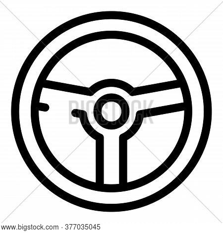 Retro Steering Wheel Icon. Outline Retro Steering Wheel Vector Icon For Web Design Isolated On White