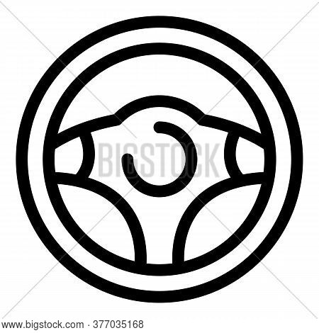 Vehicle Steering Wheel Icon. Outline Vehicle Steering Wheel Vector Icon For Web Design Isolated On W