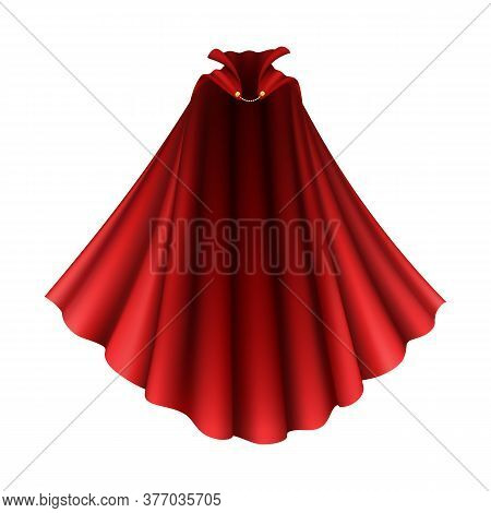 Realistic Detailed 3d Superhero Red Cape Or Mantle. Vector Illustration Of Silk Cloak Costume Or Car