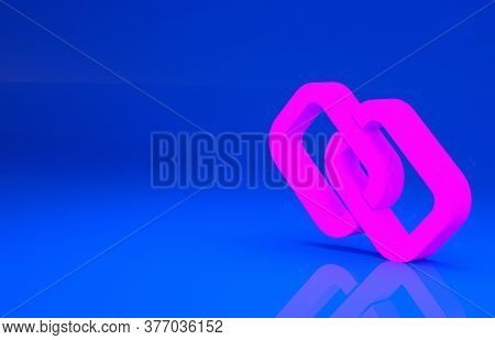 Pink Chain Link Icon Isolated On Blue Background. Link Single. Hyperlink Chain Symbol. Minimalism Co
