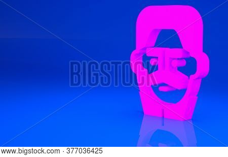 Pink Portrait Of Joseph Stalin Icon Isolated On Blue Background. Minimalism Concept. 3d Illustration