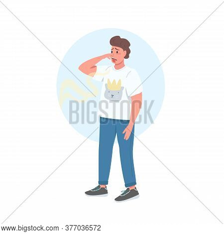 Covering Nose Male Flat Color Vector Detailed Character. Bad Smell. Guy Sniff Gross Odor. Reaction T