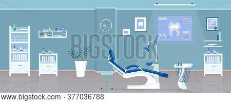 Dental Office Flat Color Vector Illustration. Stomatological Clinic, Odontology Room 2d Cartoon Inte