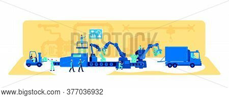 Factory Production Process Flat Concept Vector Illustration. Machinery Automation. Manufacturing Wor
