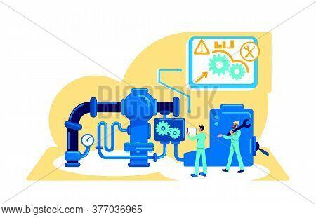 Automatization Of Machinery Flat Concept Vector Illustration. Smart Technology. Engineering Process.