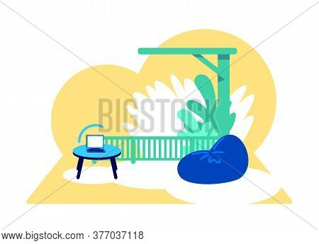 Wi Fi Zone Flat Concept Vector Illustration. Laptop With Wireless Connection. Internet Signal. Patio