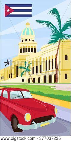 Havana Downtown Flat Color Vector Illustration. Latin America Summer Vacation. City Center Sightseei