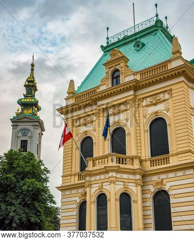Belgrade / Serbia - June 23, 2020: Embassy Of Austria Building In Belgrade, Serbia, With Cathedral C
