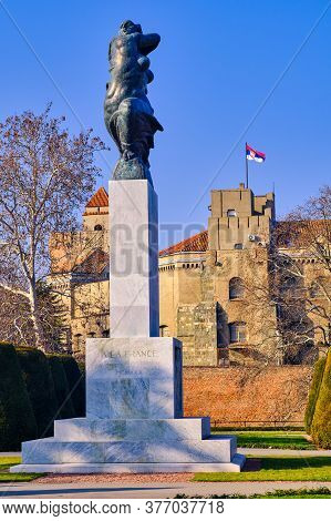 Belgrade / Serbia - January 1, 2020: Monument Of Gratitude To France In Kalemegdan Park On Belgrade