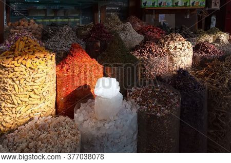 Bags Of Colorful Spices In Deira Old Souk, Dubai. Spices And Herbs Are The Foundation Of The Middle