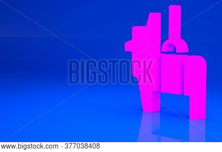 Pink Pinata Icon Isolated On Blue Background. Mexican Traditional Birthday Toy. Minimalism Concept.