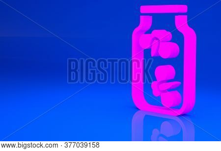 Pink Fireflies Bugs In A Jar Icon Isolated On Blue Background. Minimalism Concept. 3d Illustration.