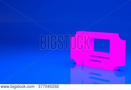 Pink Museum Ticket Icon Isolated On Blue Background. History Museum Ticket Coupon Event Admit Exhibi