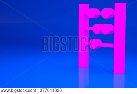 Pink Abacus Icon Isolated On Blue Background. Traditional Counting Frame. Education Sign. Mathematic