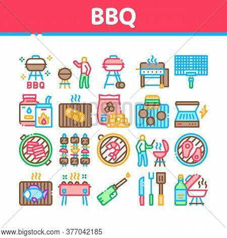 Bbq Barbecue Cooking Collection Icons Set Vector. Bbq Fried Meat And Shrimp, Fish And Bacon, Utensil