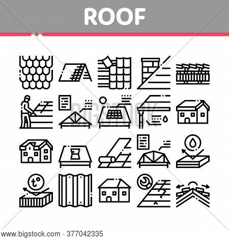 Roof Housetop Material Collection Icons Set Vector. House Roof Waterproof And Temperature Heat Resis