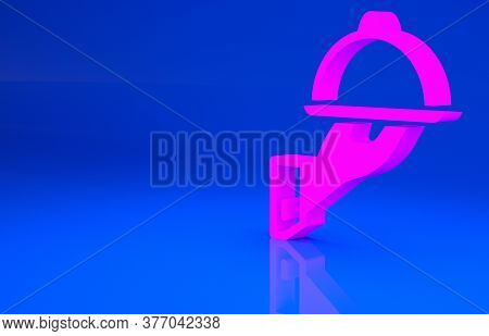 Pink Covered With A Tray Of Food Icon Isolated On Blue Background. Tray And Lid Sign. Restaurant Clo