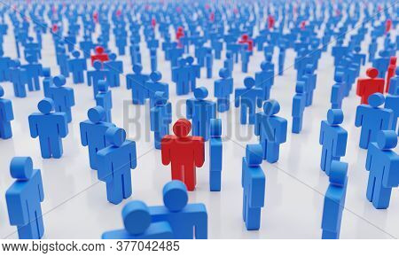 Social Distance Concept. Too Many People With Infected Man In Red Symbolizing A Contagious Epidemic