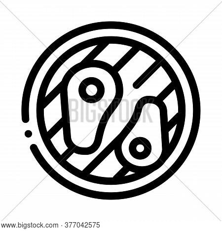 Frying Meat On Bbq Icon Vector. Frying Meat On Bbq Sign. Isolated Contour Symbol Illustration