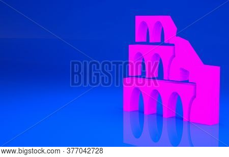 Pink Coliseum In Rome, Italy Icon Isolated On Blue Background. Colosseum Sign. Symbol Of Ancient Rom