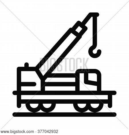 Railway Crane Icon Vector. Railway Crane Sign. Isolated Contour Symbol Illustration