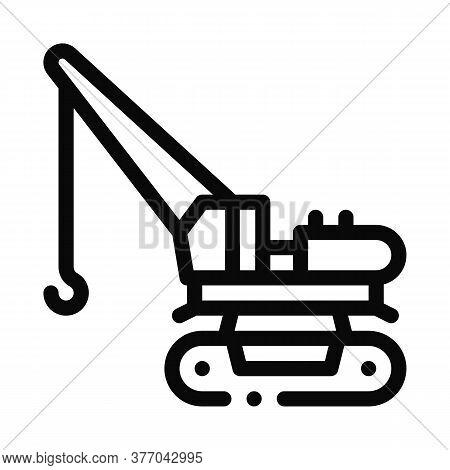 Crane Machine Icon Vector. Crane Machine Sign. Isolated Contour Symbol Illustration